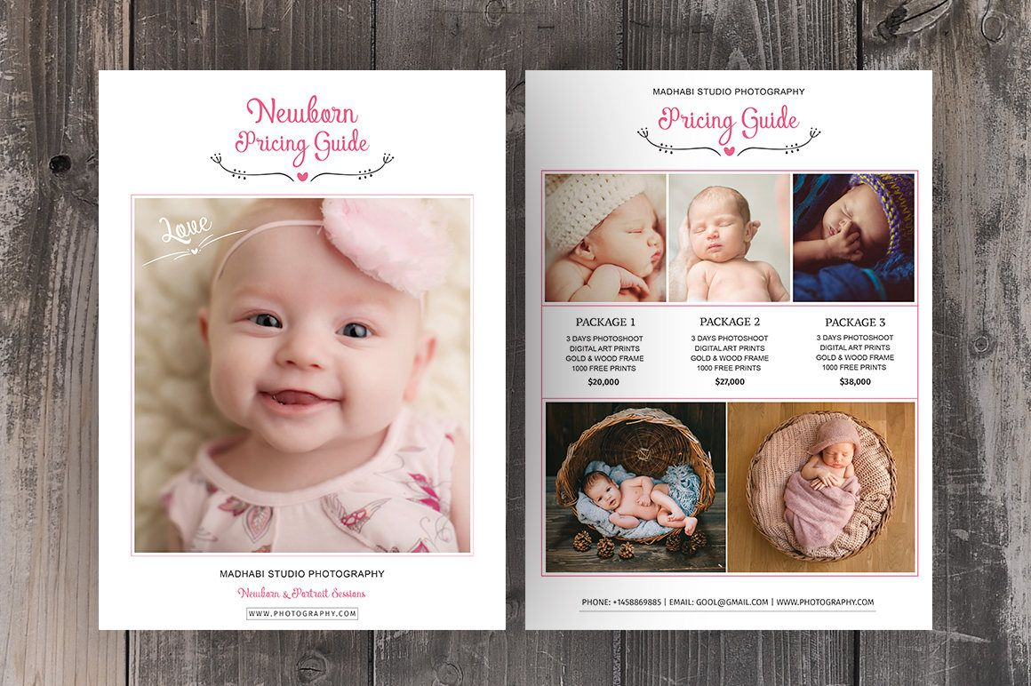 Photography Price List Template, Newborn & Baby