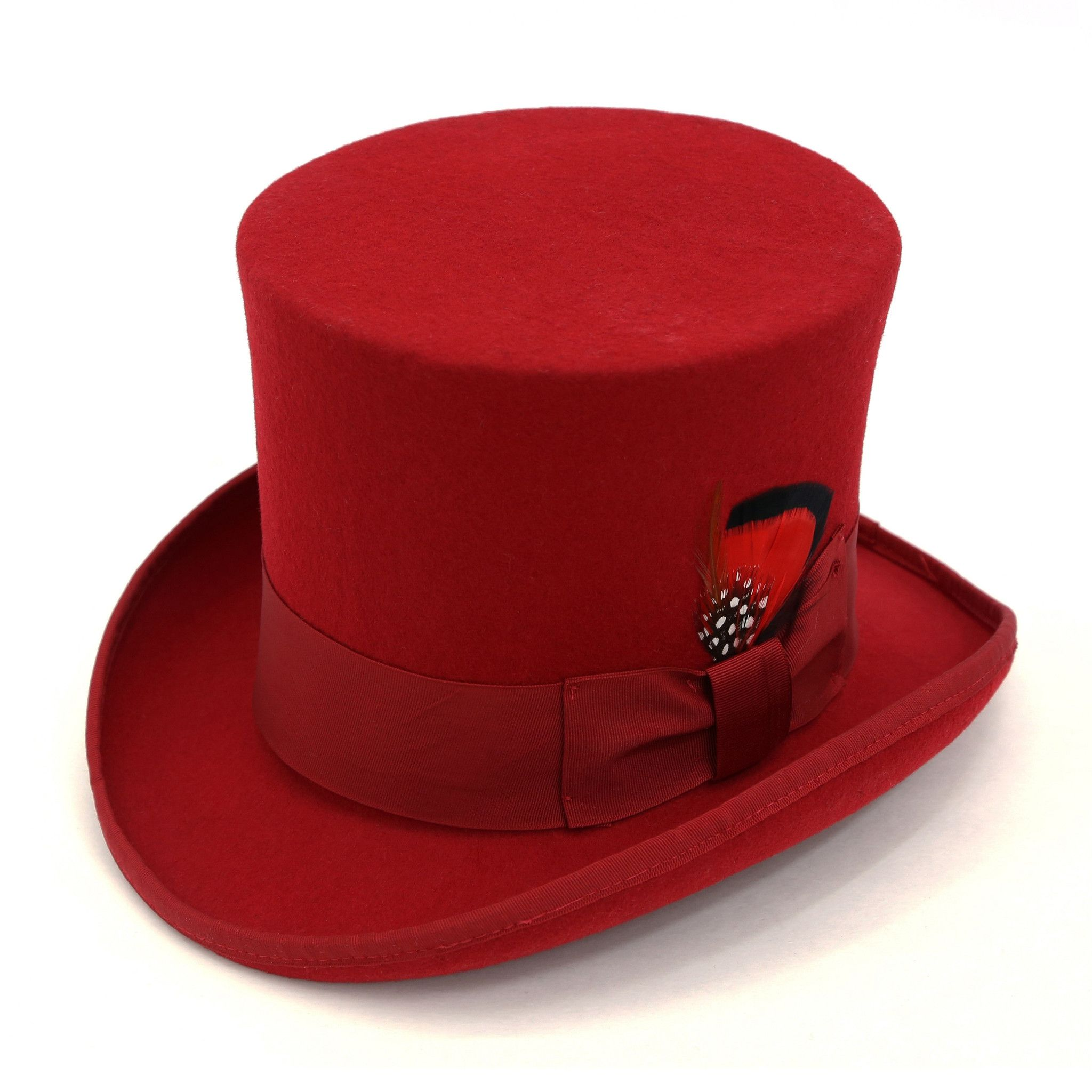 Premium Wool Red Top Hat Toppers & Bumbershoots