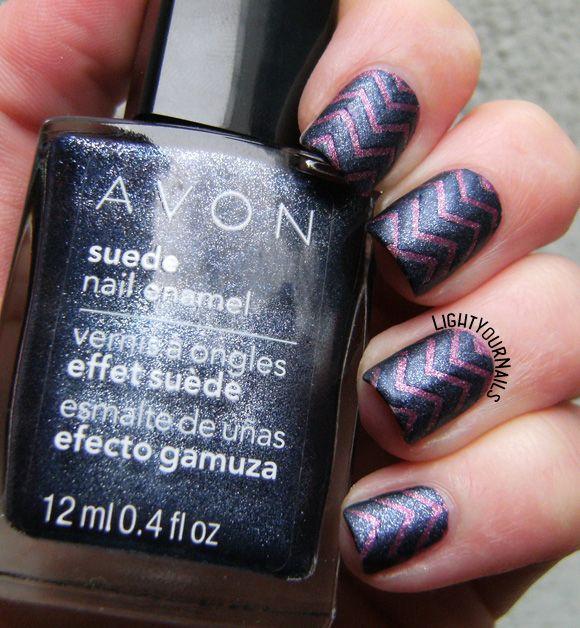 Blue and purple Avon suede chevron | Avon and Chevron nail art