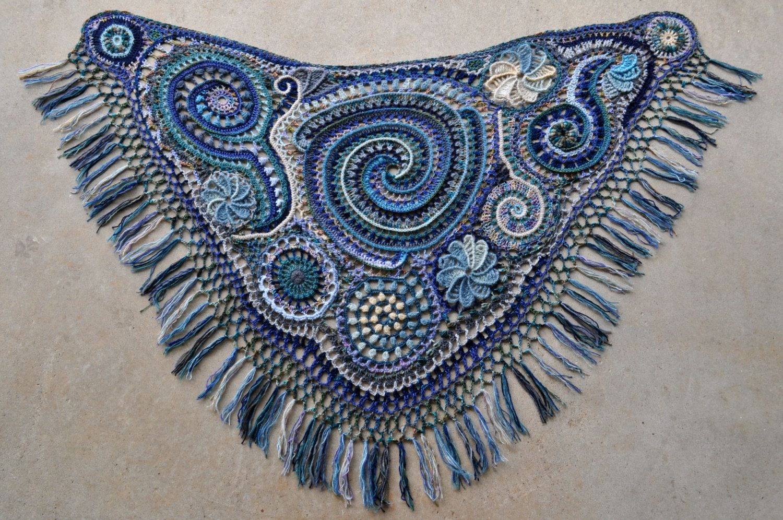 Summer Storm Freeform Crochet Shawl // Ooak Fiber Art Wrap | Faser ...