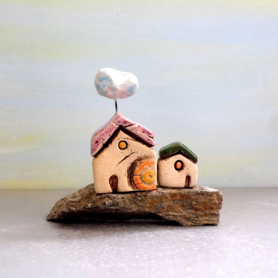 Ceramic Stones Made : Clay houses on a natural stone beach art home decoration