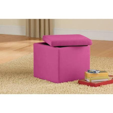 Mainstays Faux Suede Ultra Storage Ottoman, Pink | Living room ...