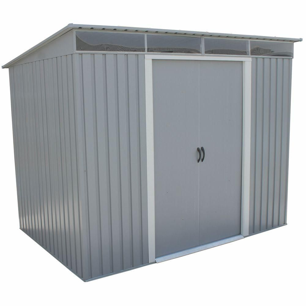 Duramax Building Products Pent Roof 8 Ft X 6 Ft Light Gray Metal Shed With Skylight 50371 The Home Depot Metal Storage Sheds Metal Shed Outdoor Storage Sheds