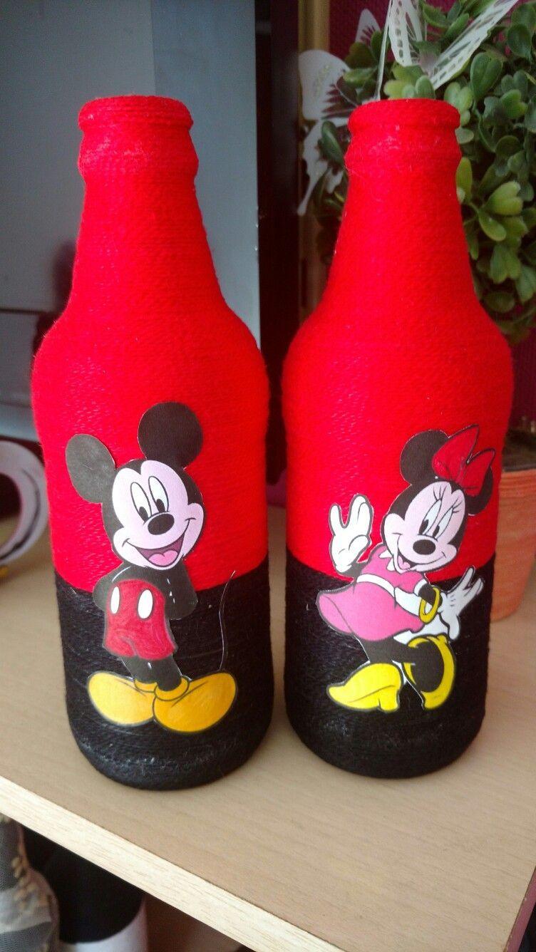 Champagne Set Bottle And 2 Glasses Diy Bottle Crafts Bottle Crafts Mickey Mouse Crafts