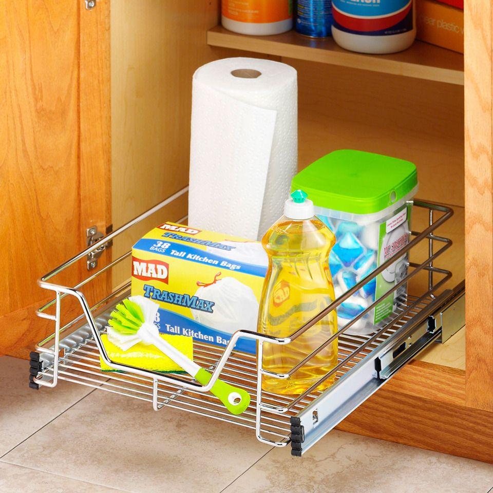 whitmor 14 sliding cabinet organizer beyond the rack on top new diy garage storage and organization ideas minimal budget garage make over id=30677