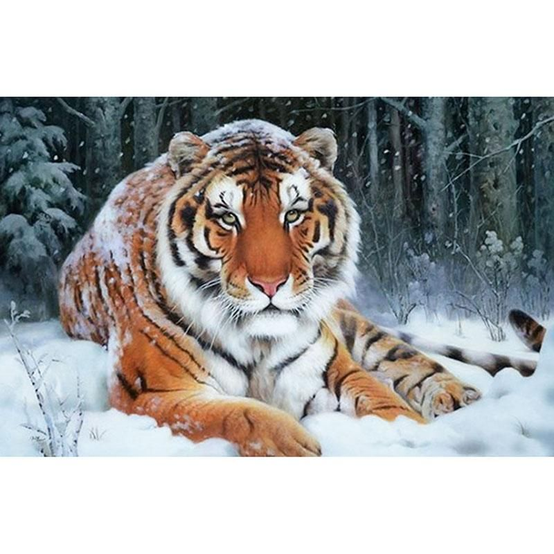 5d Diy Diamond Painting Tiger In Forest Snow Craft Kit With