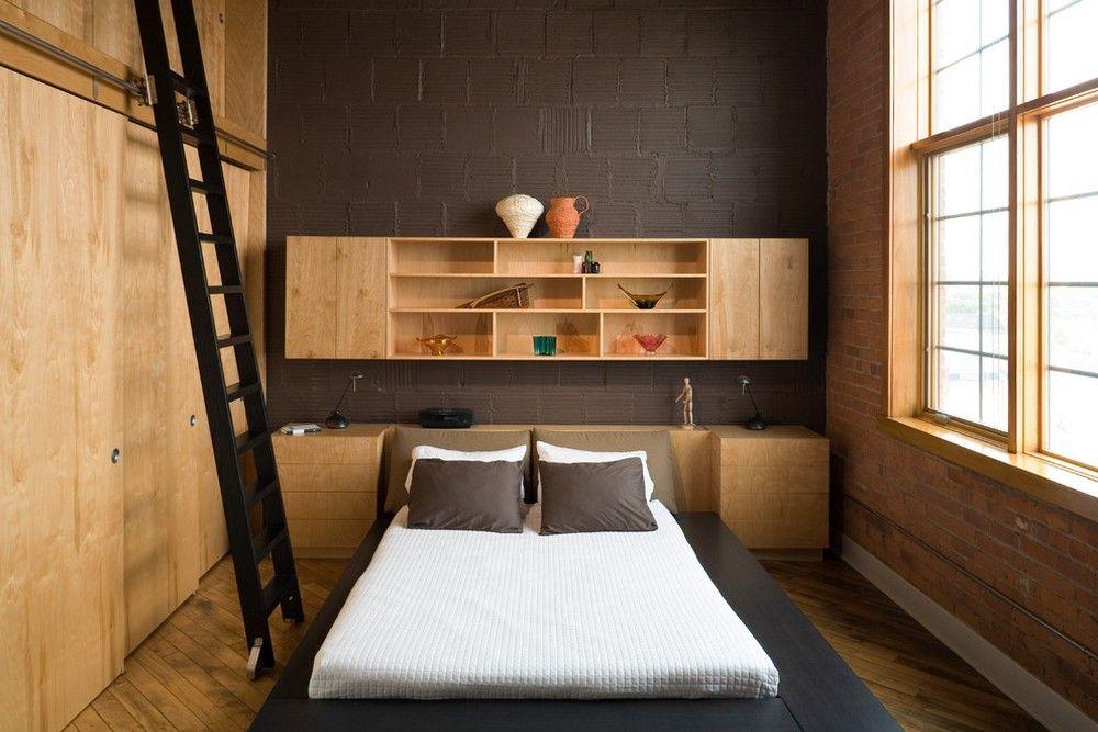 Narrow bedroom with wood, brick and black wall   Men's ...