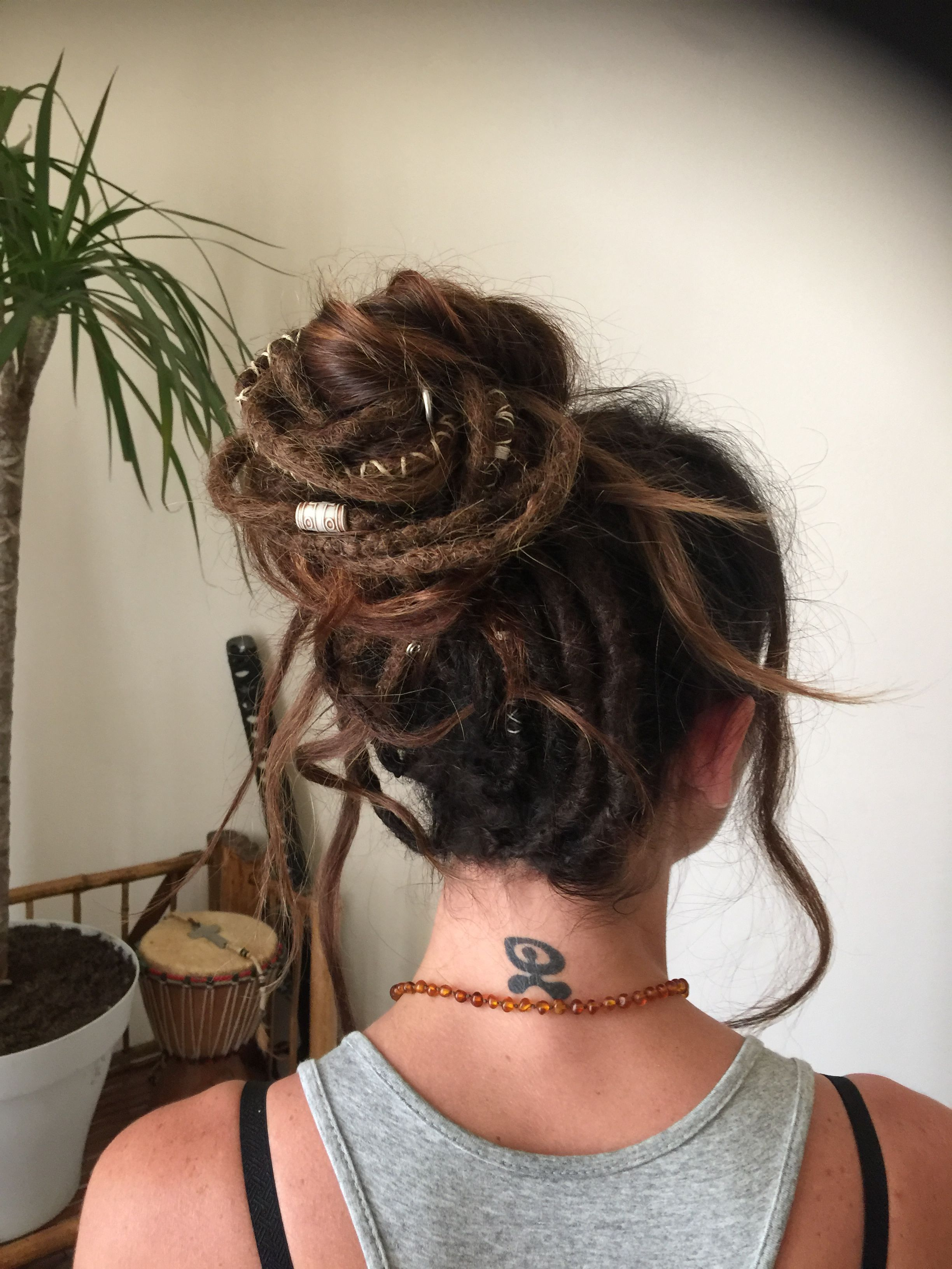 #chignons #dreads #inspiration by Lisah in 2020 | Dread hairstyles, Hair styles, Hippie hair