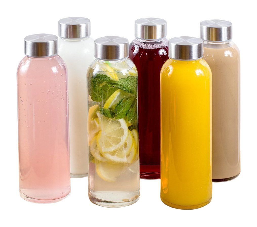 Estilo Glass Water Bottles 16 oz, Stainless Steel Cap - Case of 6 ...