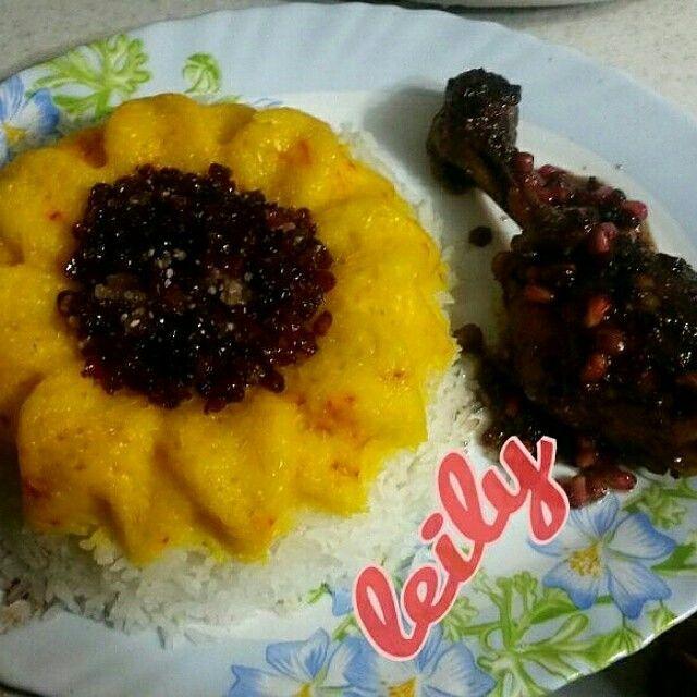 Food rice and ckitchen(مرغ ترش ناردون  so yummmmm