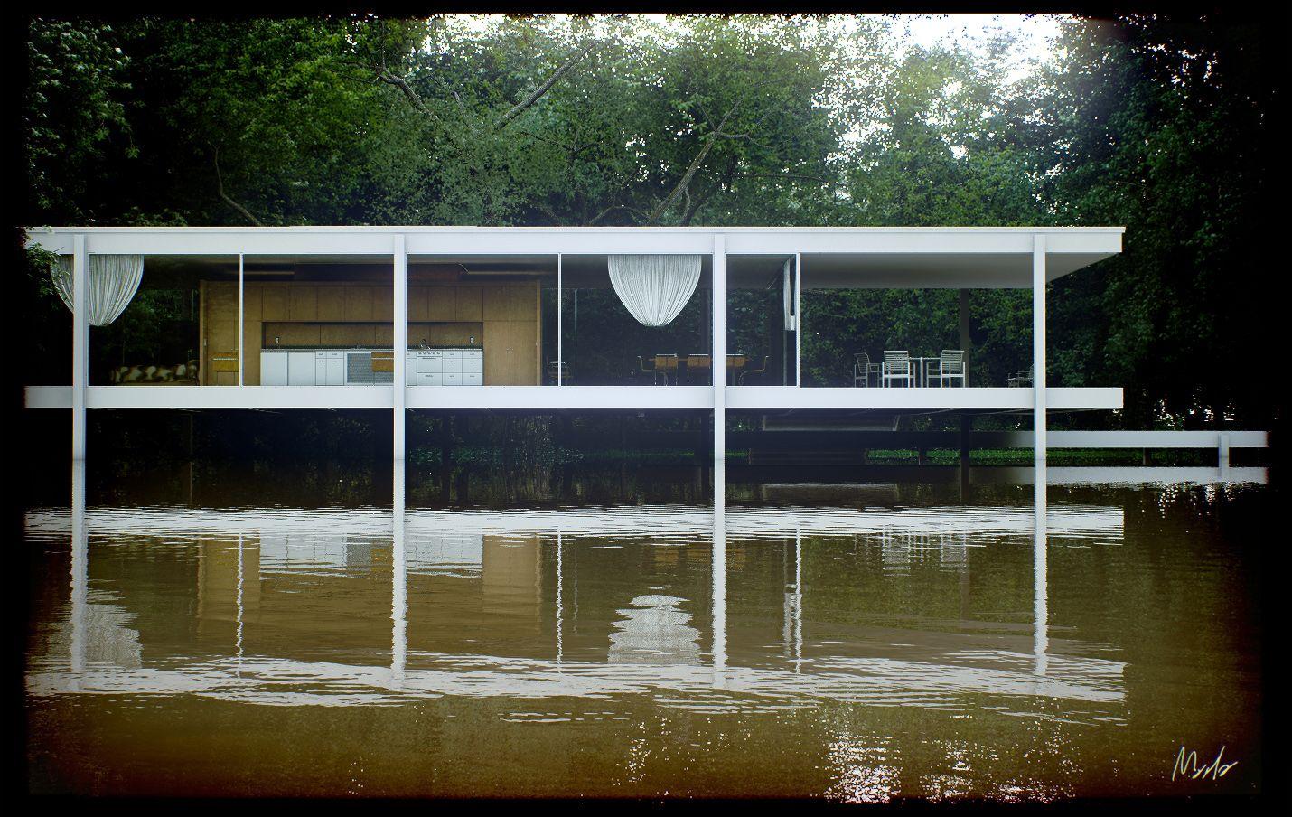 Mies van der Rohe photo Farnsworth House Plano USA  Architectures et lignes  Farnsworth house