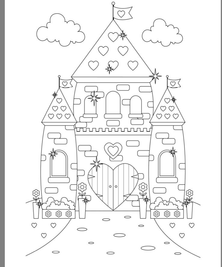 Princess castle colouring page