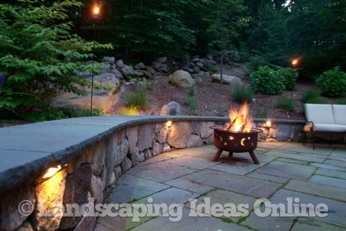 Night Lighting Along Seat Wall | Landscape Lighting Gallery