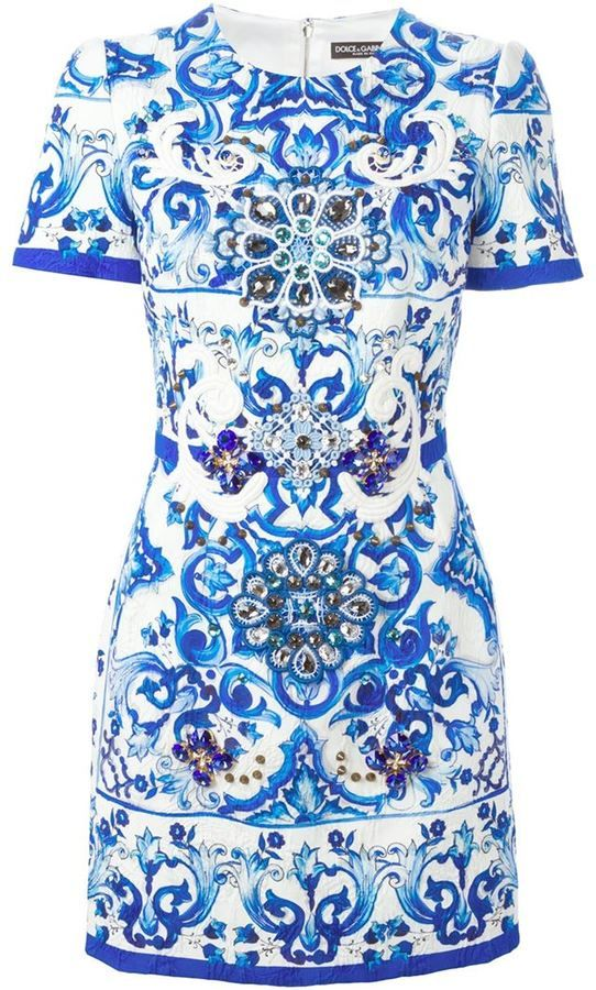 56a3423777d3f DOLCE   GABBANA Majolica print brocade dress   Fashion   Dresses ...