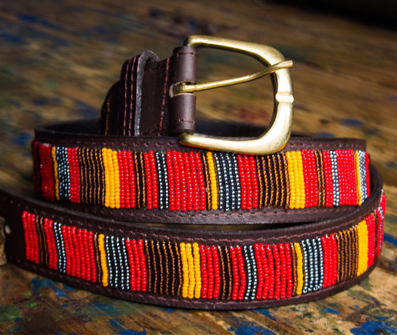 African Beaded Belt Men Gift Ideas Men Beaded Belt Men Leather Belt Handmade Men Women Orange Navy Beads Masai Leather Belt Bc Genuine Leather Belt Best Leather Belt Genuine Leather