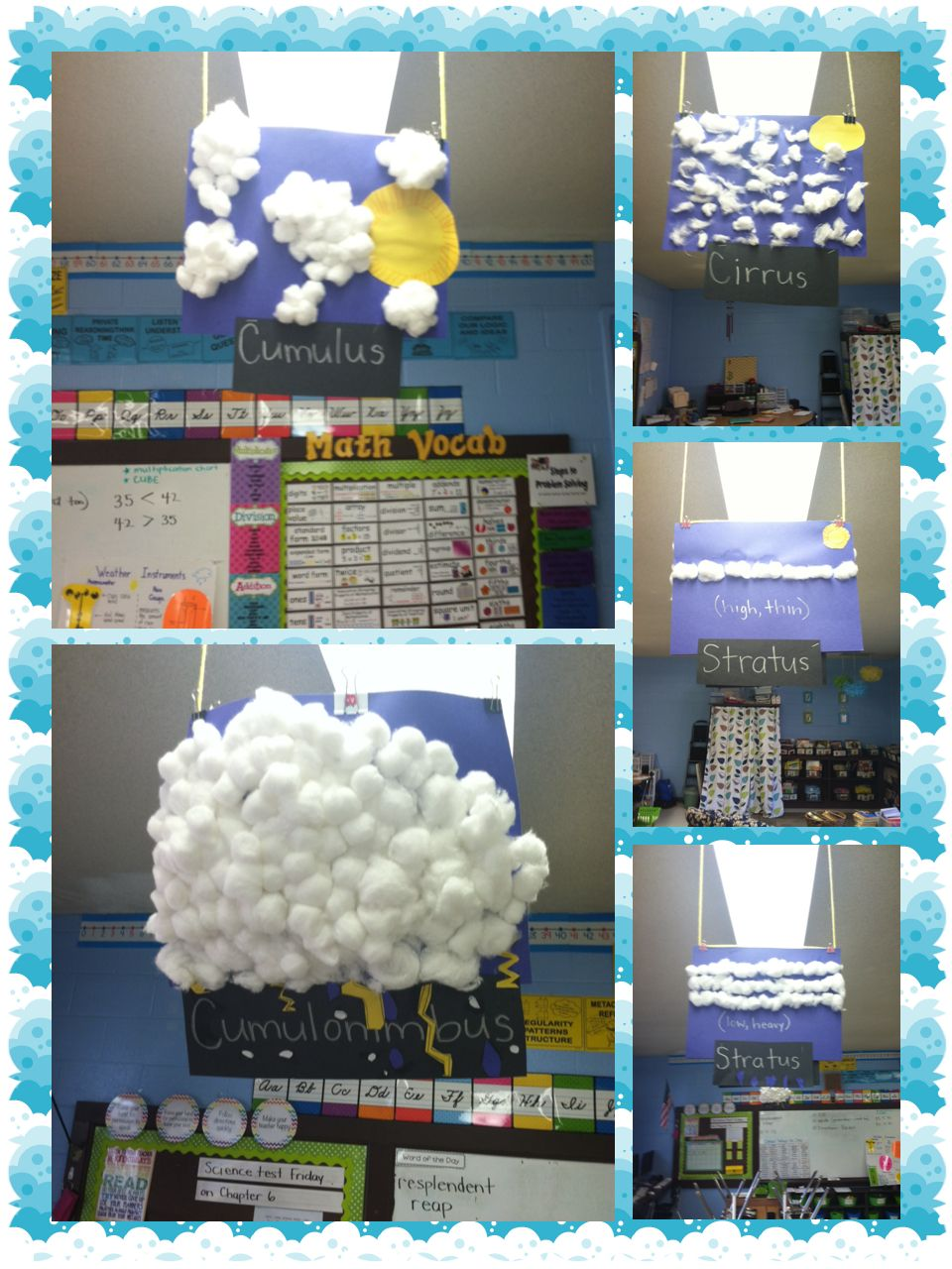 Cloud Types 3rd Grade The Kids Made The Clouds And The Type Of Weather Produced By The Clou 3rd Grade Science Projects Third Grade Science Elementary Science