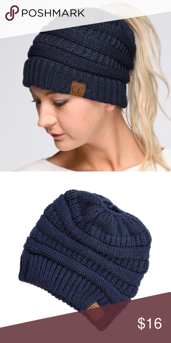 Navy Blue Messy Bun CC Beanie This is a brand new CC Messy Bun Beanie it  has hole for ponytail or messy bun to show. Very soft cc beanie Accessories  Hats 13eadebe9ec