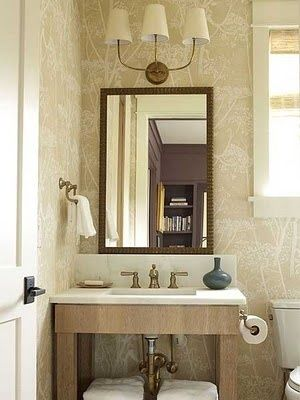 Bathroom in Cole & Son Cow Parsley Wallpaper Linen White