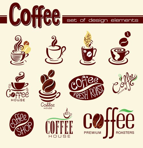 Creative Coffee Logo Design Elements Vector Disenos De Unas
