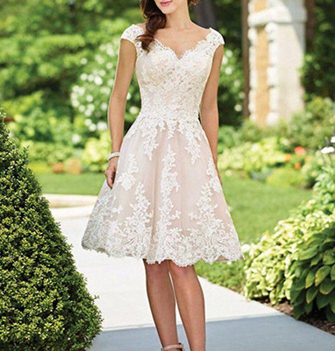 YASIOU Hochzeitskleid Elegant Damen Standesamt Kurz Tüll ...