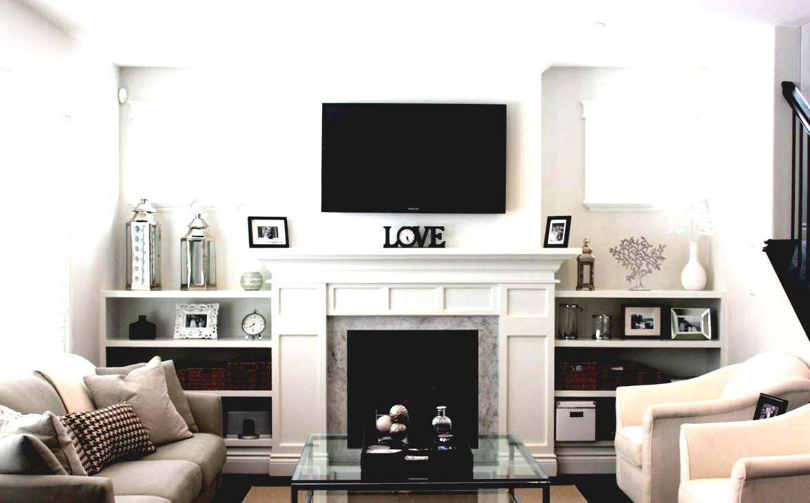 Traditional Living Room Ideas With Fireplace And Tv Black Leather Sofas Design Small Family For Rest White Fabric Sofa Set Grey Marble Border Silver Metal Lantern Candle