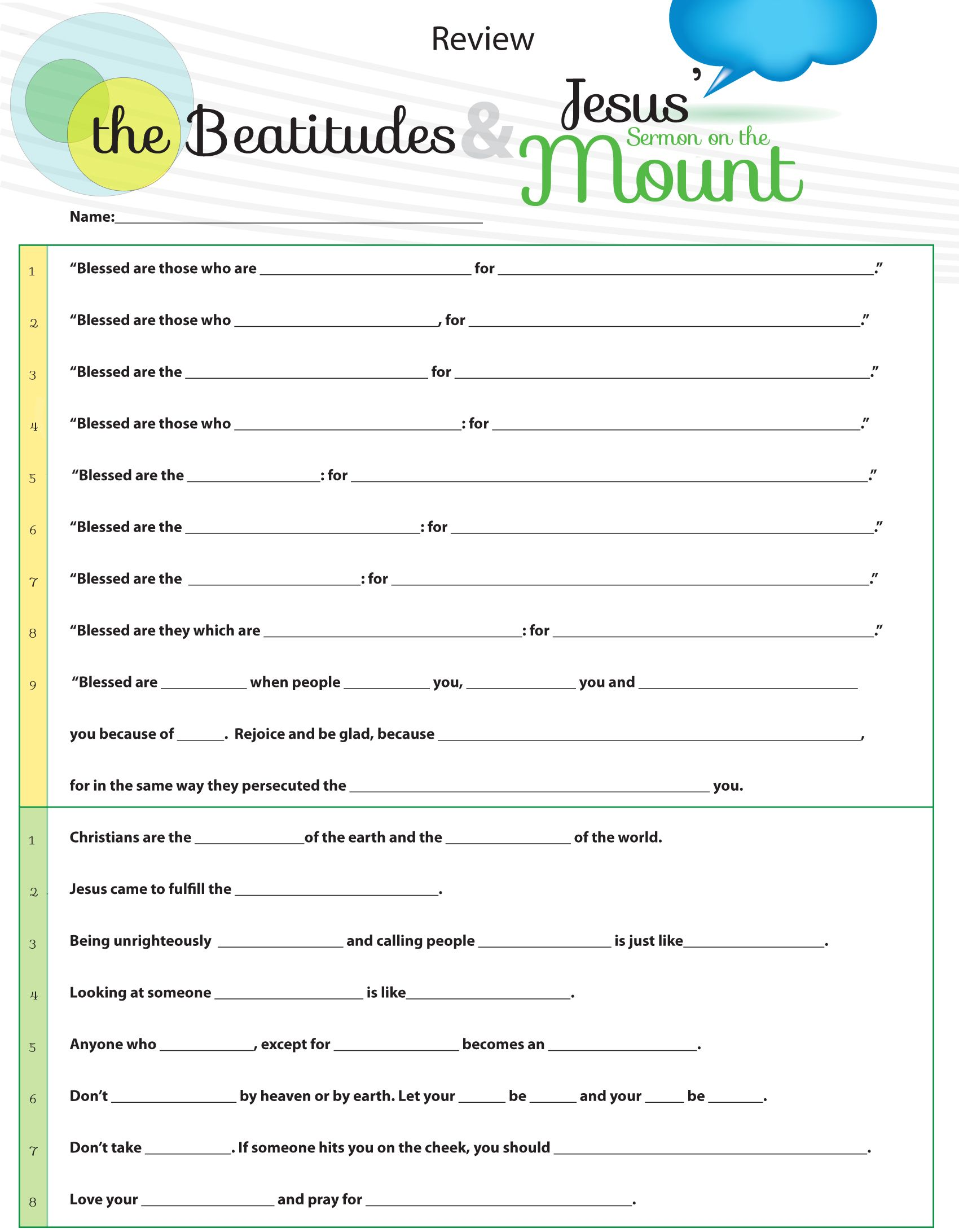 Worksheet To Teach Jesus Sermon On The Mount From Matthew Chapter 5 Overview With Fill In The