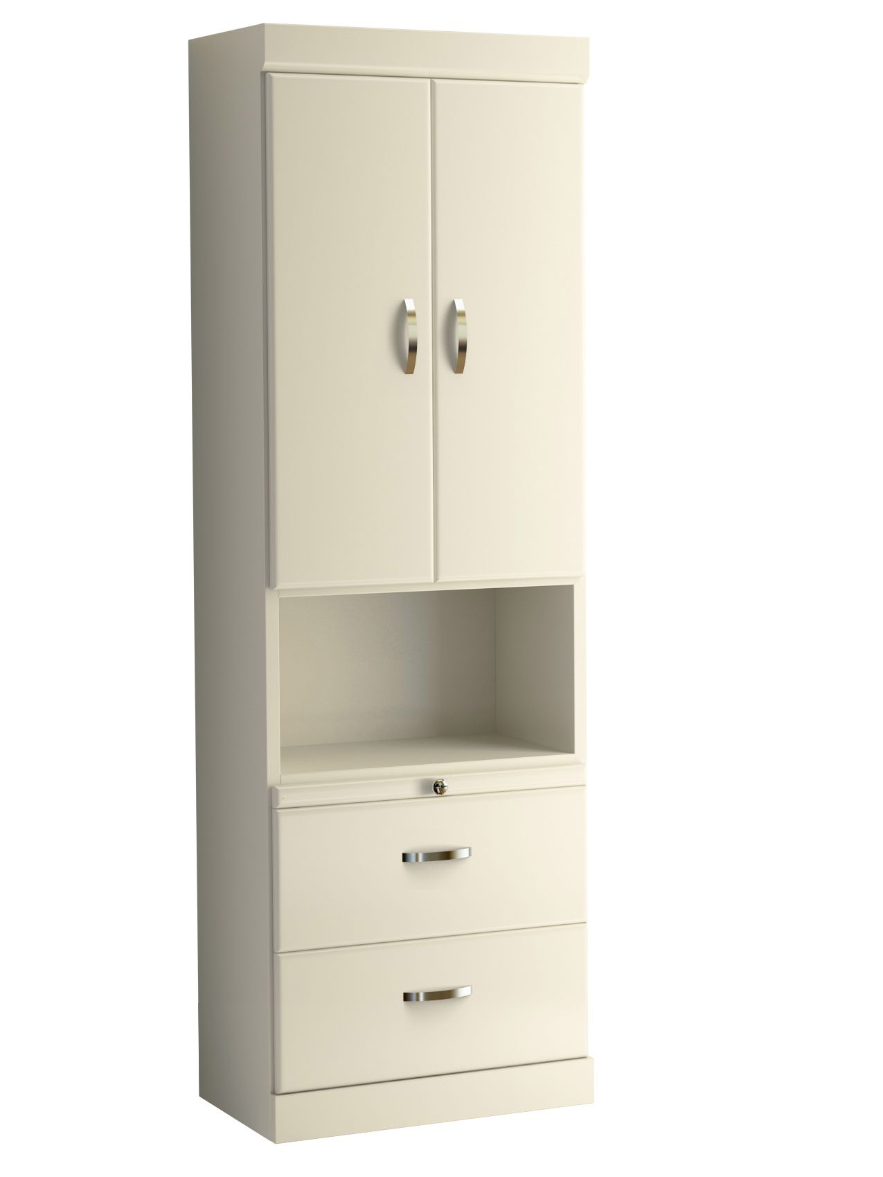 Shaker Style Bookcase with Top Doors and Bottom Drawers in White