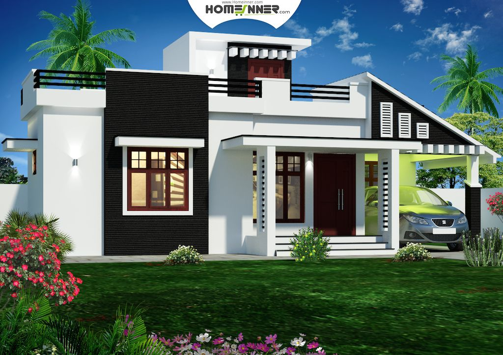 Today we are showcasing a 900 sq feet kerala house plans 3D front