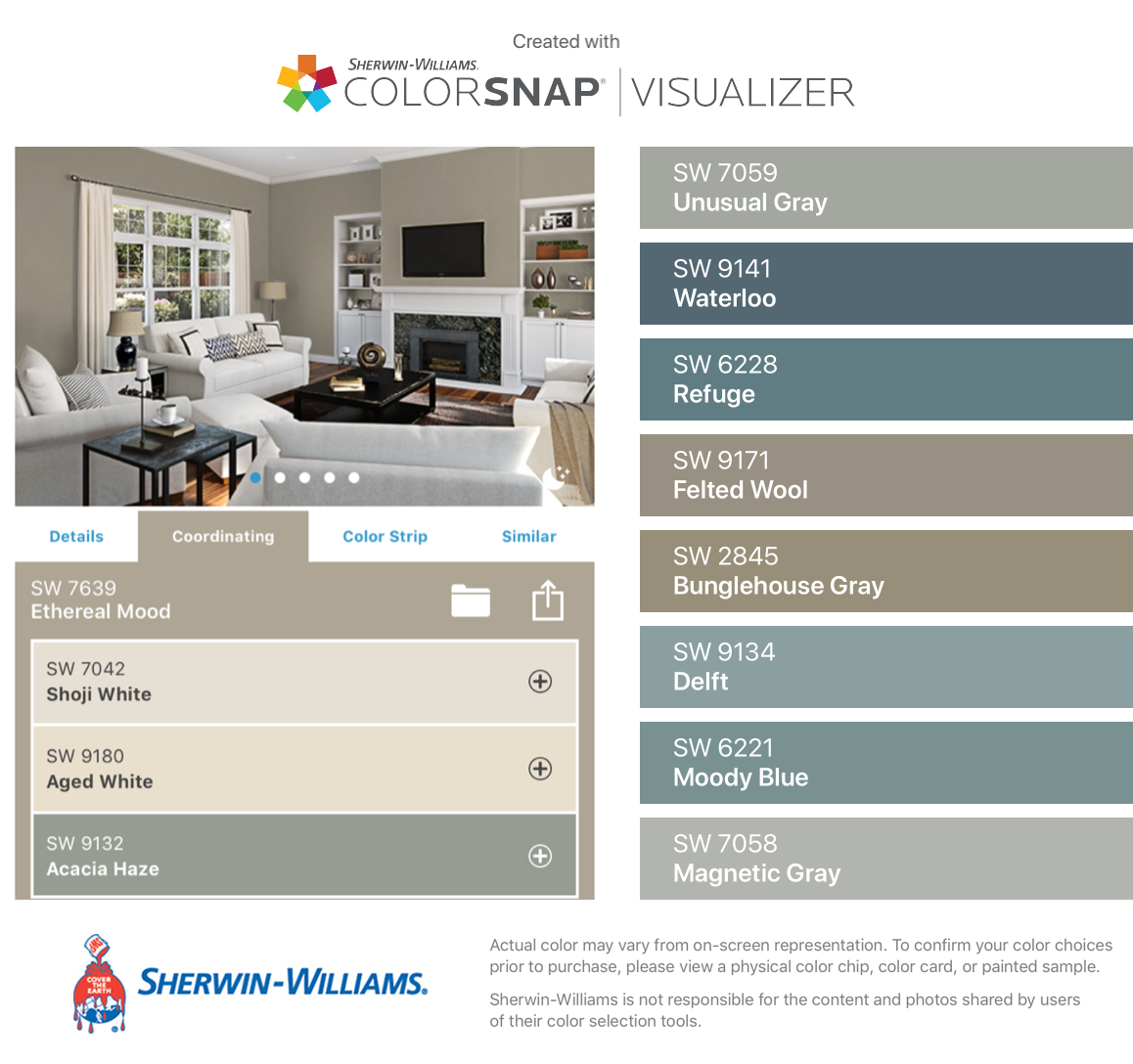 I Found These Colors With Colorsnap Visualizer For Iphone By Sherwin Williams Unusual Gray Sw 7059 Wate Coordinating Paint Colors Shoji White House Colors