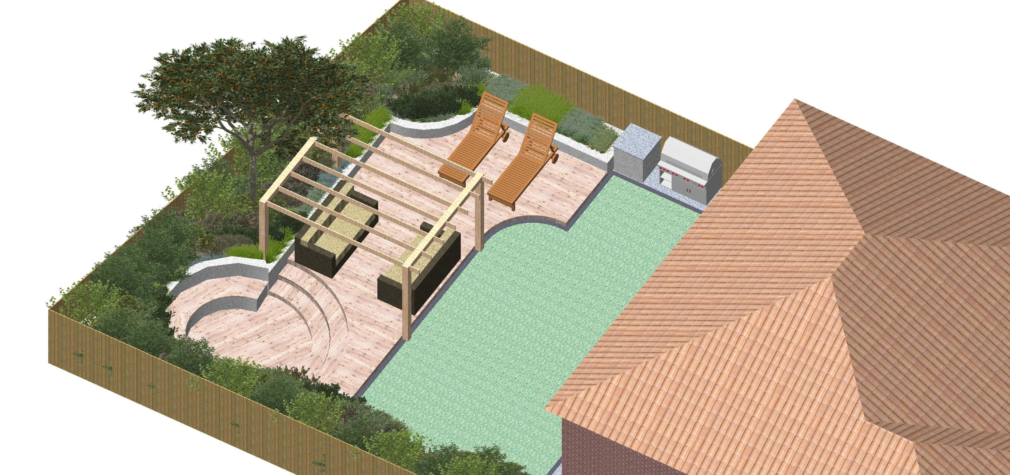3 d cad model of small contemporary family garden in egham surrey