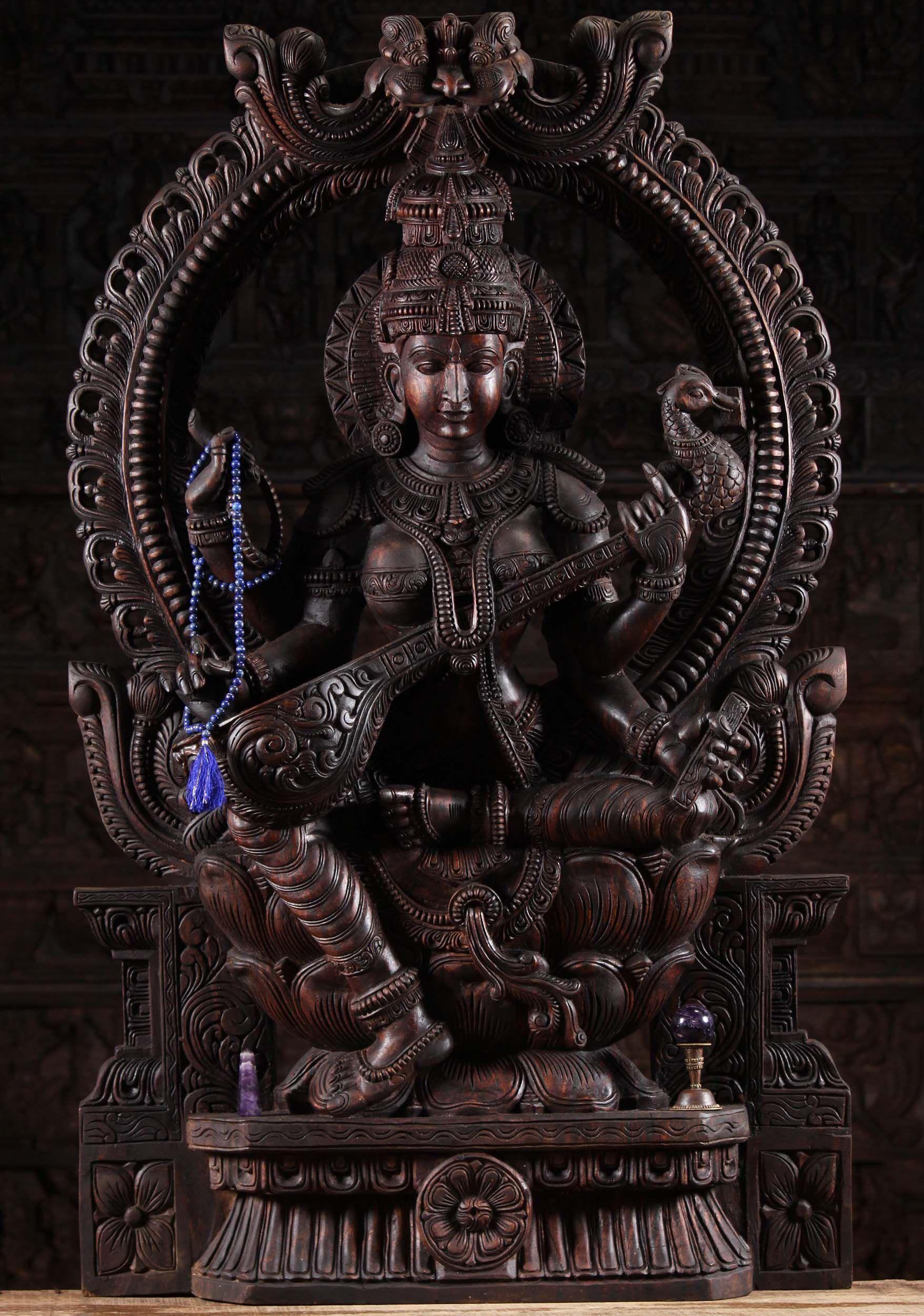 Ebros Hindu Goddess Saraswati Playing Veena with Swan Figurine ...