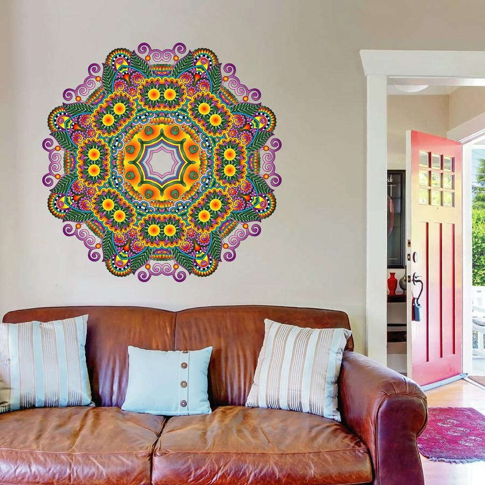 cik135 Full Color Wall decal mandala ornament Indian ...