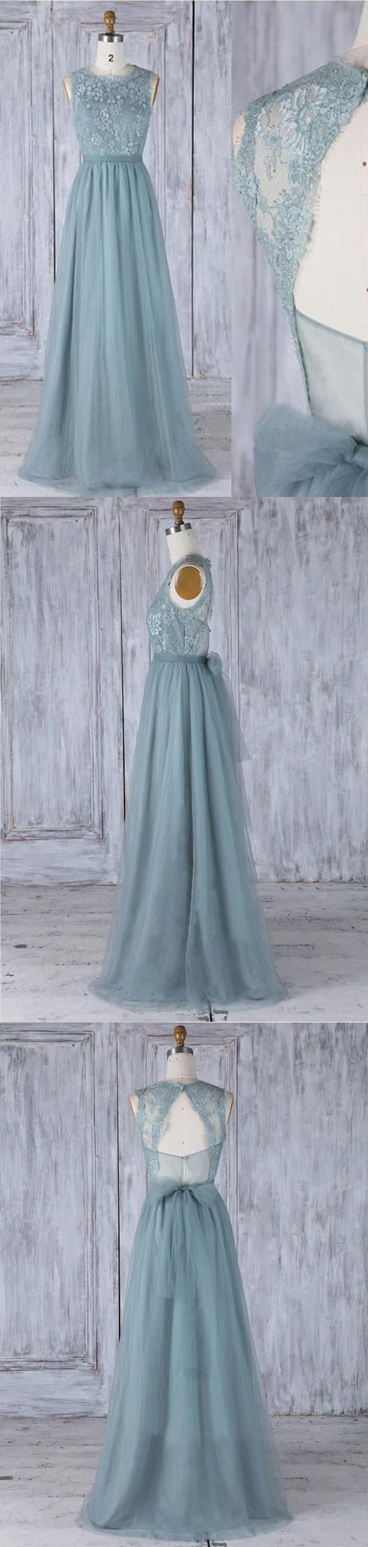 Dark green tulle long open back lace fashion prom dress with bowknot