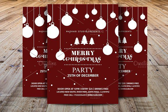 Merry Christmas Party Flyer By Madhabi Studio On Creativemarket