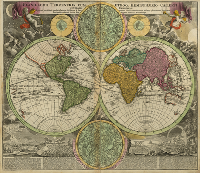 World Maps Of The Northern And Southern Hemisphere Published In 1593 By The  Dutch Cartographer And