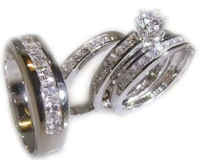 His Her 4 Piece Wedding Ring Set White Gold Ep Sterling Womens 5