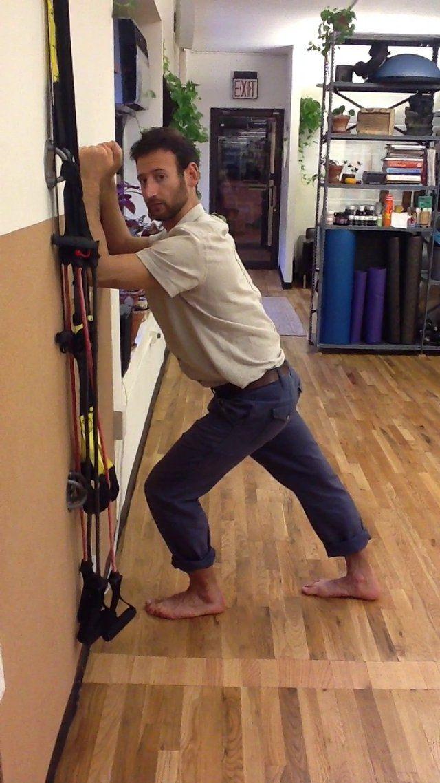 Standing Hip Flexor Stretch using Wall on Vimeo