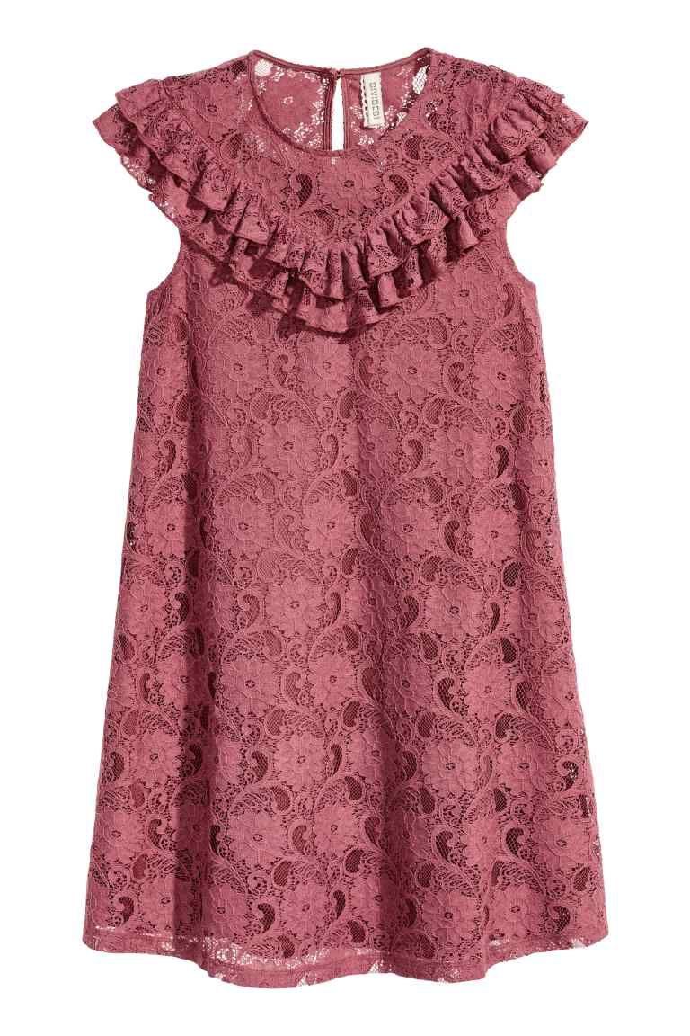 Vestido de encaje con volantes | Vestidos de encaje, Rosas vintage y ...