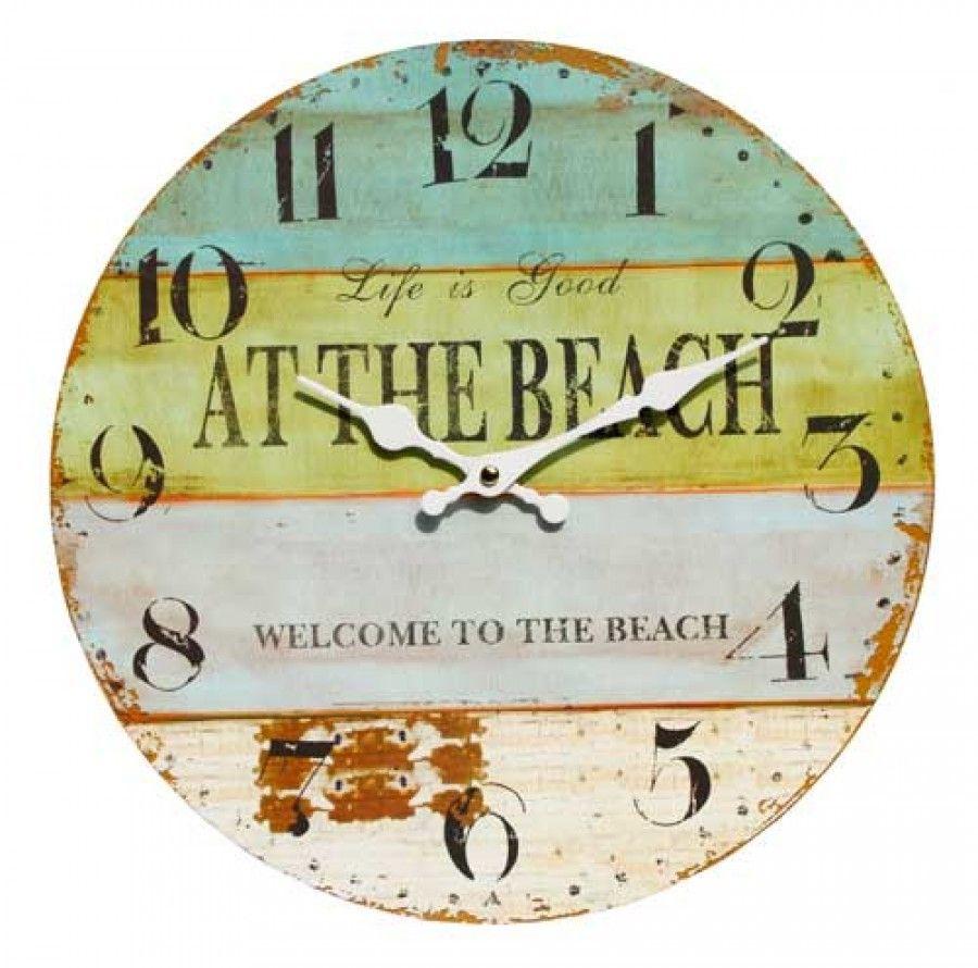At The Beach Wall Clock 34cm Coastal Wall Decor Coastal Beach Decor Large Wall Clock