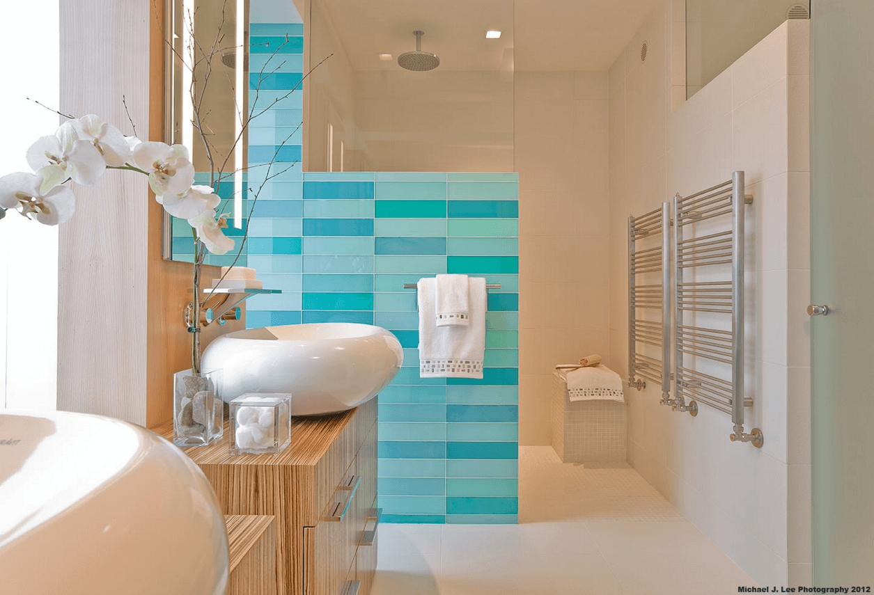 Blue Mosaic Tiled Bathroom | Architecture & Interior+Exterior Design ...