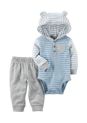 8f9f689b6 Carter s® 2-Piece Blue and White Striped Hoodie Bodysuit and Pant ...