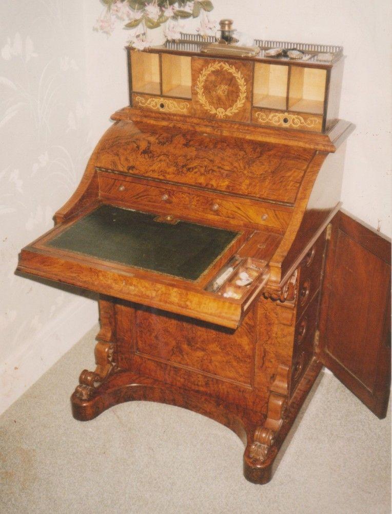 Victorian, burr walnut, piano front Harlequin Davenport