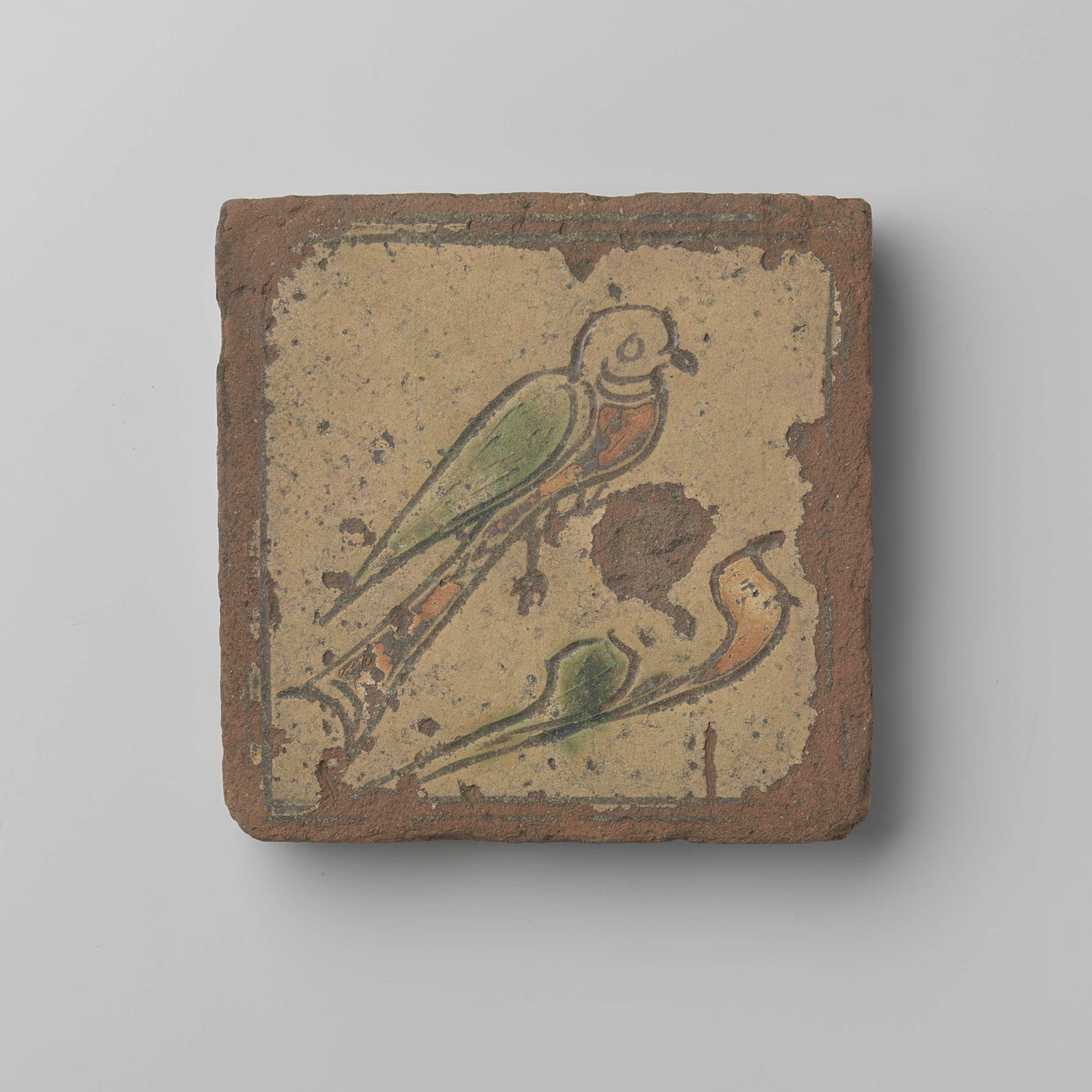 Anonymous | Tegel met duif, Anonymous, c. 1700 - c. 1800 | Tegel versierd met een duif op een tak.