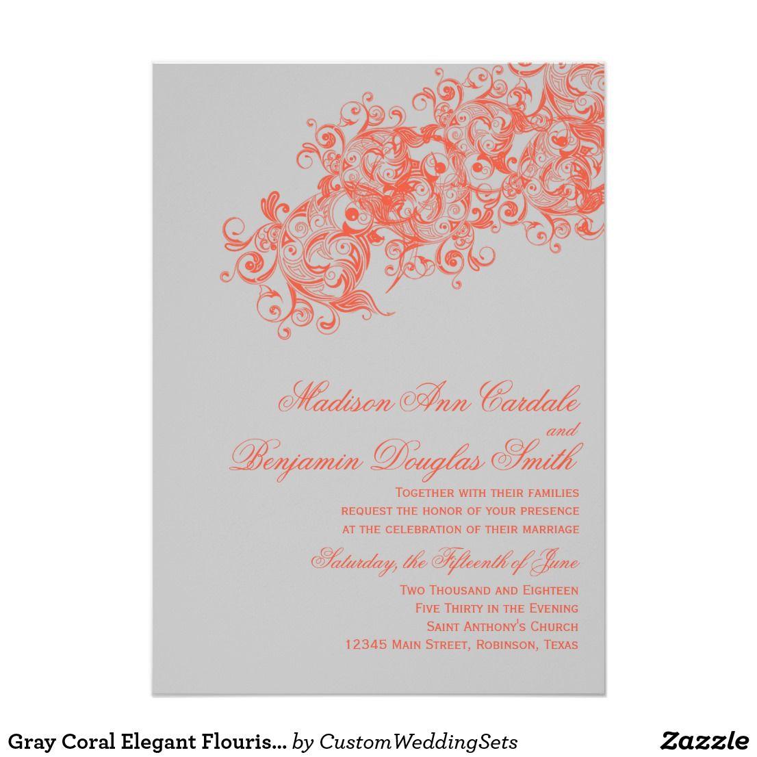 Gray Coral Elegant Flourish Wedding Invitations | Flourish, Elegant ...