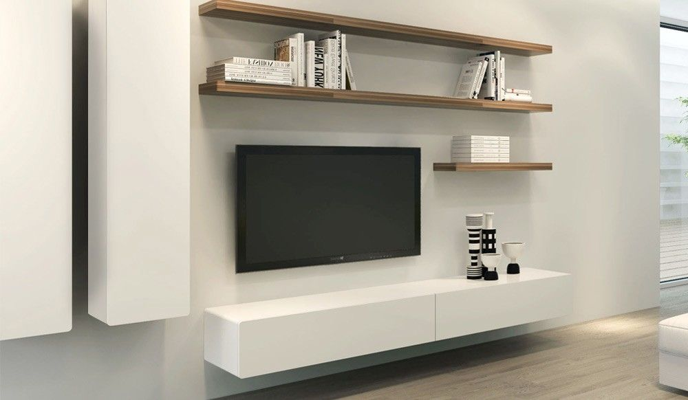 Floating shelf option entertainment unit pinterest floating tv stand tv stand cabinet and - Tv stands small spaces ideas ...