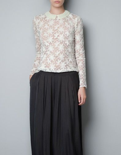 ebf8b6838c1288 EMBROIDERED TULLE BLOUSE WITH PEARLS AROUND COLLAR - Shirts - Woman - ZARA  United States $69.90