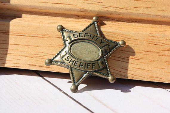 Cowboy wild west Sheriff Star badge fancy dress western deputy pin 6 pointed