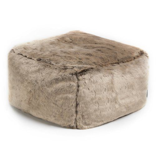 Norden Home Silas Faux Fur Square Pouffe Leather Footstool Velvet Footstool Faux Fur