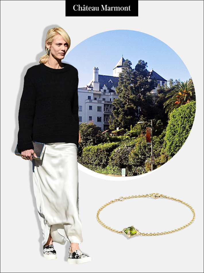 Travel Destination: Château Marmont, Los Angeles—a hot spot for casual celeb sightings. | Outfit: Casual elegance is key. Opt for a minimalist vibe with a relaxed bottoms and an easy top. Add a delicate charm bracelet (or stack a few) to polish up the look. | Châtelaine Bracelet with Peridot and Diamonds in 18K Gold, $1,100; at David Yurman