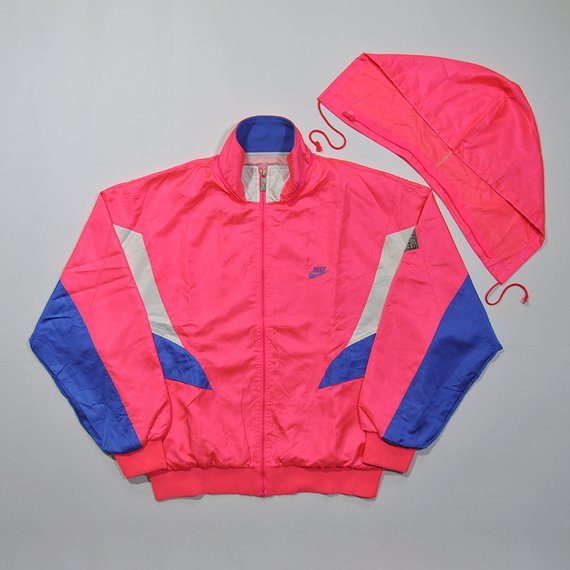 494a894369 Rare Vintage 80s 90s NIKE Windbreaker Pink Peach Neon Colorway Retro NIKE  Old School Aesthetic Color